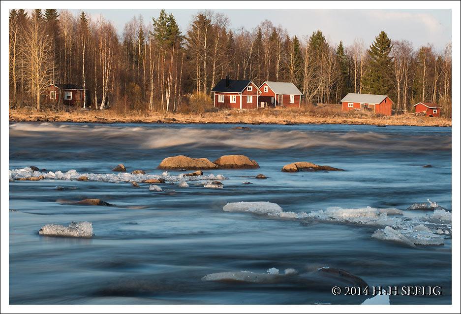 Stromschnellen an der Grenze Schweden-Finnland